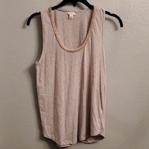 Gray Tank with Gold Embellished Collar
